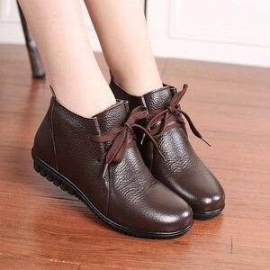 Image 2 - AARDIMI Botines cálidos de piel auténtica para Mujer, botas clásicas con cuña, para invierno