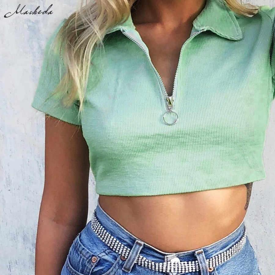 Macheda New Tshirt Retro Gira-giù il Collare T Shirt A Manica Corta Delle Donne di Estate Ha Lavorato A Maglia Della Chiusura Lampo di Disegno del Bicchierino Top Casual vestiti