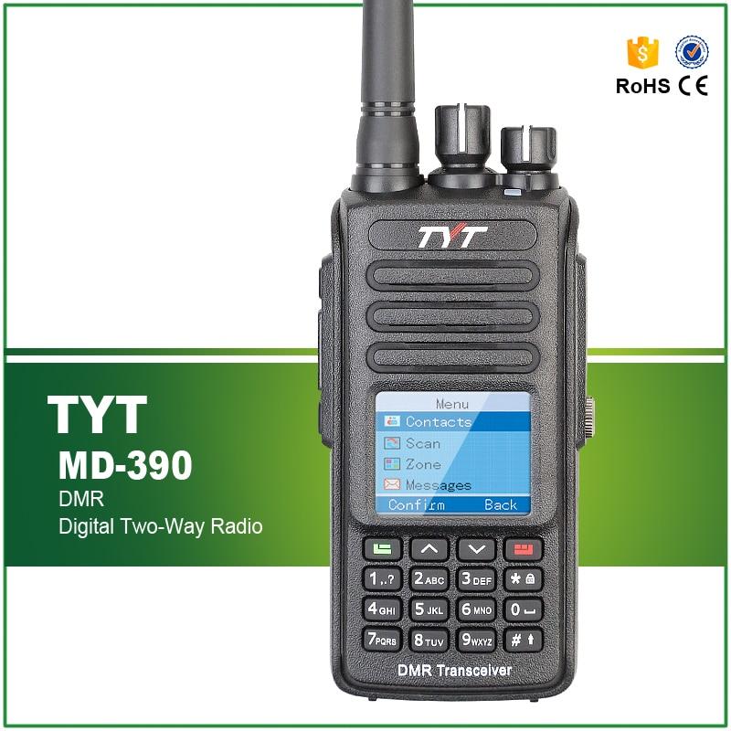 Nyaste Ankomst IP-67 Vattentät UHF 400-480MHZ DMR Walkie Talkie TYT MD-390 Med Programmeringskabel och -programvara