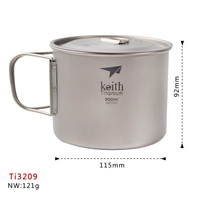 Keith 900 ML Ti3209 tasse à thé en titane Camping tasse à eau en titane avec poignée pliable vaisselle d'extérieur