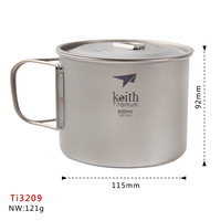 Keith 900ML Ti3209 Titanium Tea Cup Camping Titanium Water Cup With Foldable Handle Outdoor Tableware
