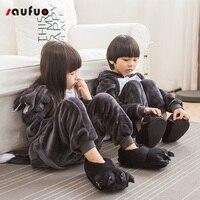 Saufuo Winter Wolf Halloween Pajama Sets Cartoon Girls Cute Warm Flannel Cosplay Costume Animal Pyjamas Home