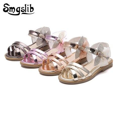 2018 moda borboleta criancas sandalias de couro