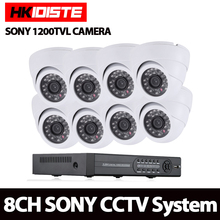 HIIXDISTE Full HD 1.0MP Surveillance CCTV System 8CH AHD CCTV DVR 1080p NVR Sony 1200TVL mini dome Security System with IR CUT