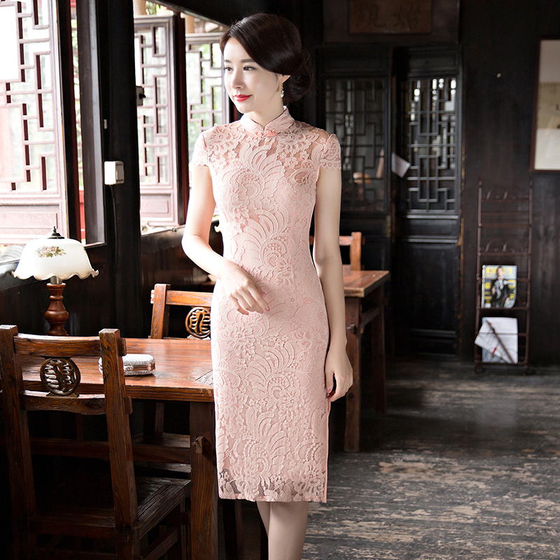 Fashion Summer Womens Knee Leng Cheongsam New Arrival Chinese style Lace Short Dress Qipao Vestidos Size
