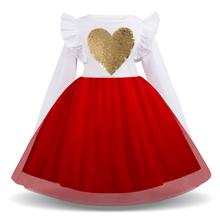 AmzBarley Toddler girls tutu Dress Ruffle Long sleeves princess Dress Sequined Heart Lace Ball Gown children party outfits