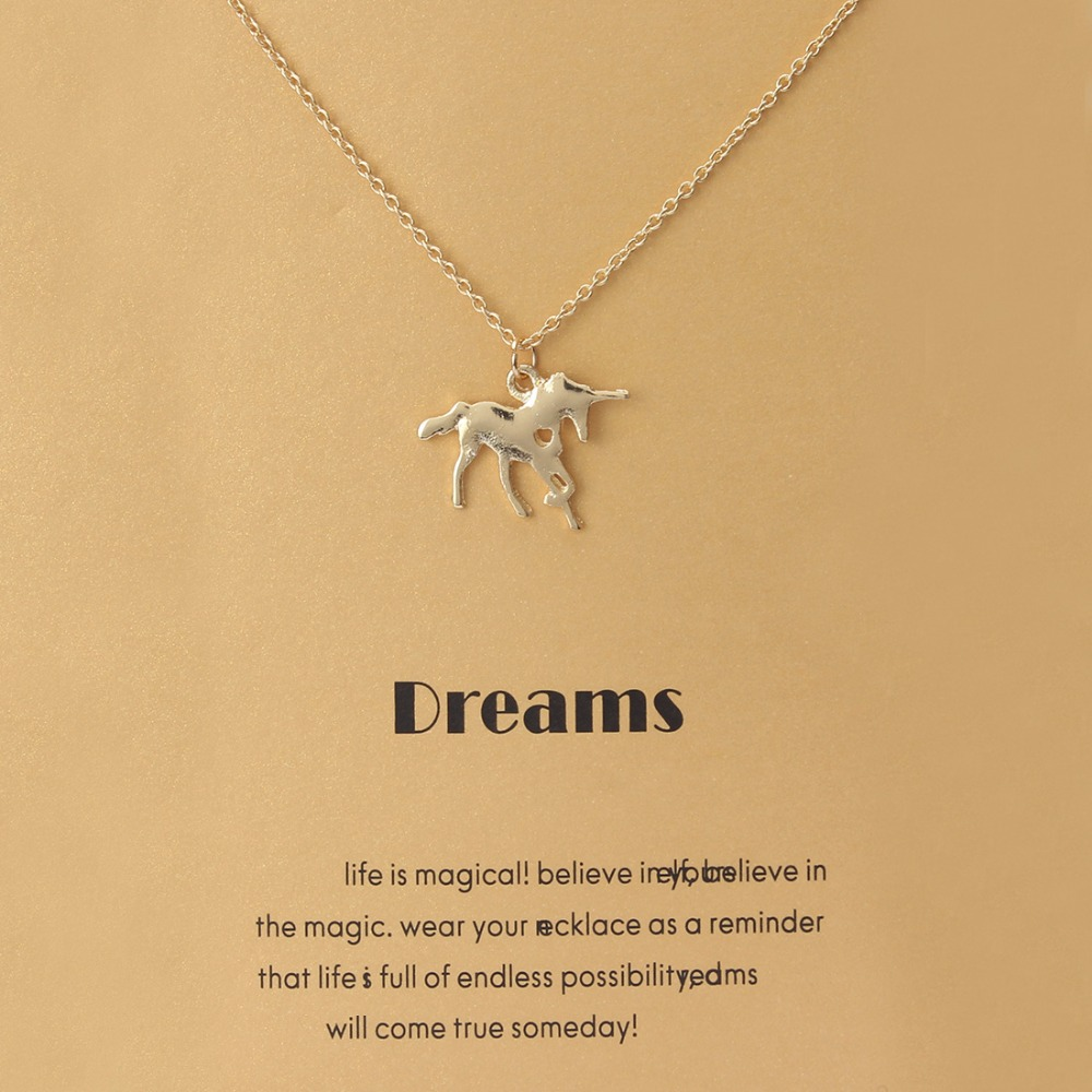 1pc Minimalist Unicorn Animal Charms Choker Collier Necklaces Links Chains Wish Card Gold Plate For Women Statement Jewelry Gift
