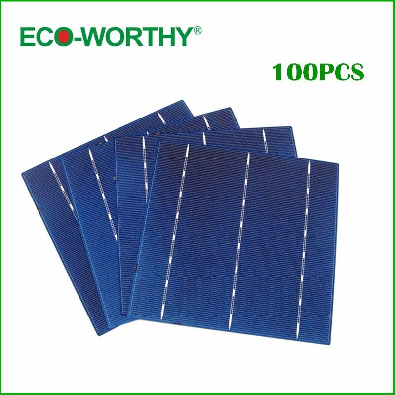 ECO-WORTHY 100pcs Solar Cell 6x6 17.6% Efficiency 4.3W Each Cell DIY Solar Panel 156x156mm Polycrystalline Solar Cells