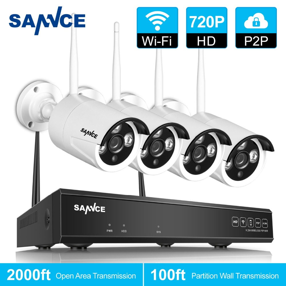 SANNCE 4CH Wireless CCTV System 720P HD NVR kit Outdoor IR Night IP Camera wifi Camera Security System Surveillance Kits ...