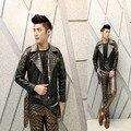 Панк кожа пальто мужчины Корейской Тонкий ночной клуб костюмы персонализированные кожа панк мужской парикмахер человек панк куртка