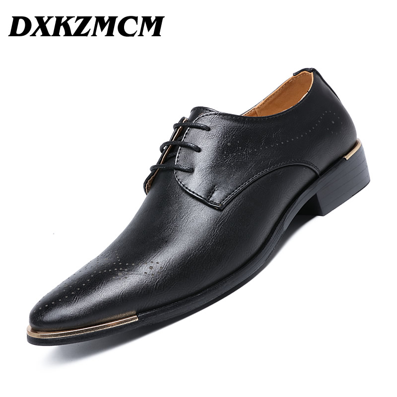 Hot Sale Dxkzmcm Men Formal Shoes Microfiber Leather Black Band Men