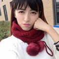 New 2016 Cute Women Scarf Fashion Brand hair ball cashmere Winter Warm Scarf Luxury Thick Scarves for Women Q09