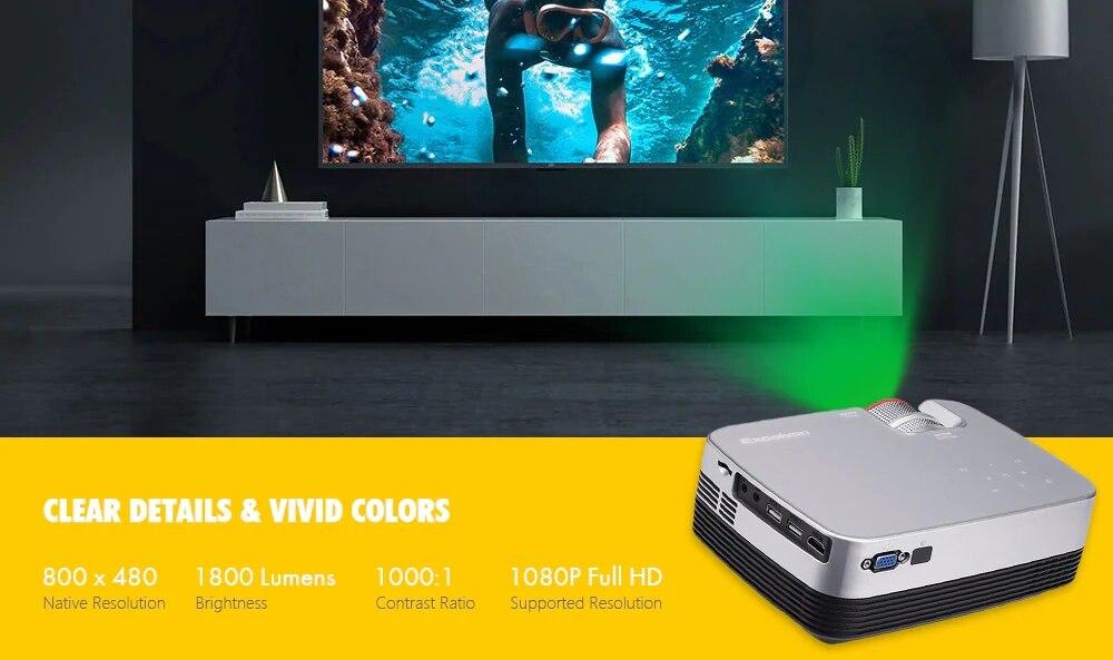 Excelvan Q6 Mini Portable LED Projector 1800Lumen Touch Panel Multimedia Video Projecyor Support 1080P HDMI VGA USB Home Theater (2)
