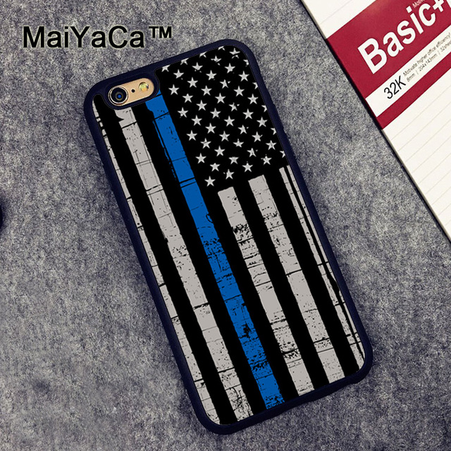 best cheap 5eabf 0562d US $3.98 5% OFF|MaiYaCa POLICE THIN BLUE LINE AMERICAN FLAG Rubber Phone  Cases For iphone 7 8 6 6S Plus X XR XS MAX 5 5S SE Cover Coque-in Fitted ...