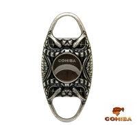 COHIBA Snake Face Pocket Antique Copper Stainless Steel Double Blade Cuban Cigar Scissors Cigar Cutter (Silver /Gold)