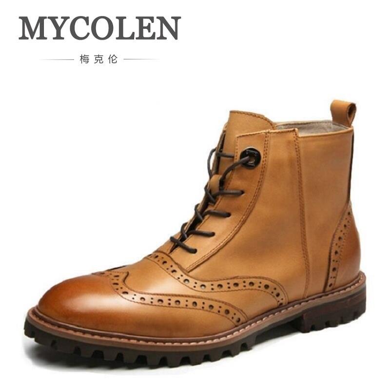 MYCOLEN Vintage Men Boots Lace-Up + Zipper Autumn Leather Martin Boots Men Work Winter Ankle Boots Casual Chelsea Boots Ayakkabi