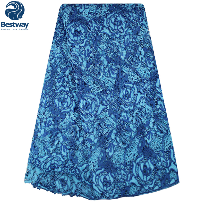 Bestway 2019 Guipure Lace Fabric Flowers Embroidered Cupion Tulle Royal Blue Lace Fabric For Wedding Party Cord Lace 2019 Lace in Lace from Home Garden