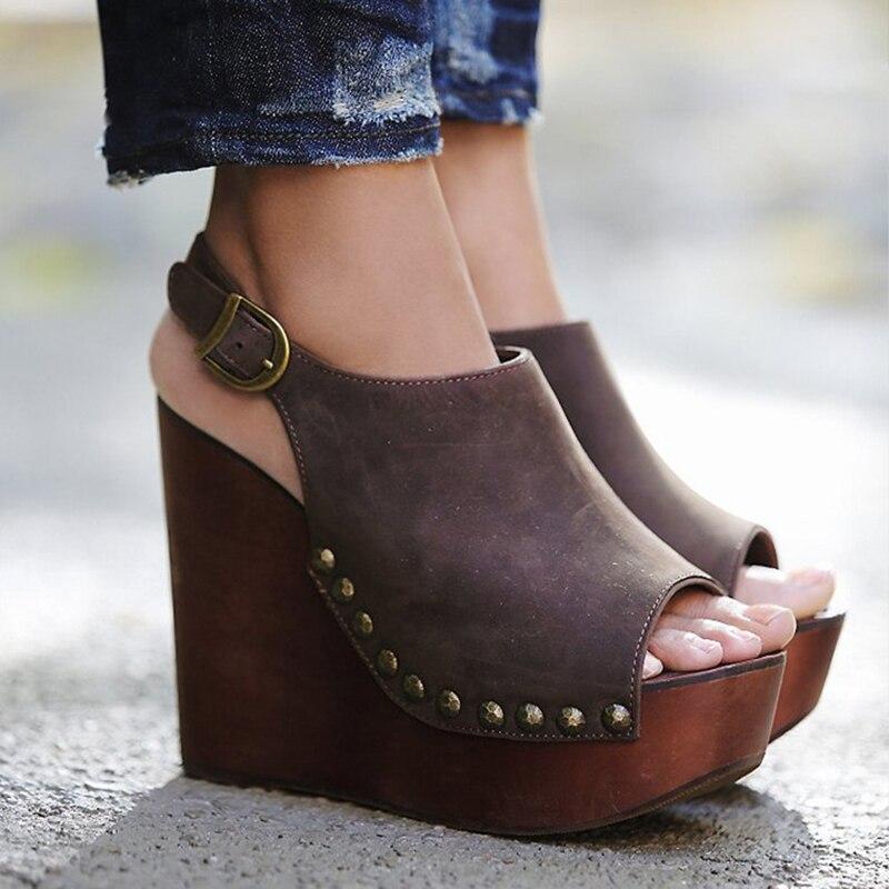 все цены на Senza Fretta Women Summer Leather Gladiator Sandals 2018 Platform Sandals Wedges Shoes Woman High Heels Sandals Sandalias Mujer онлайн
