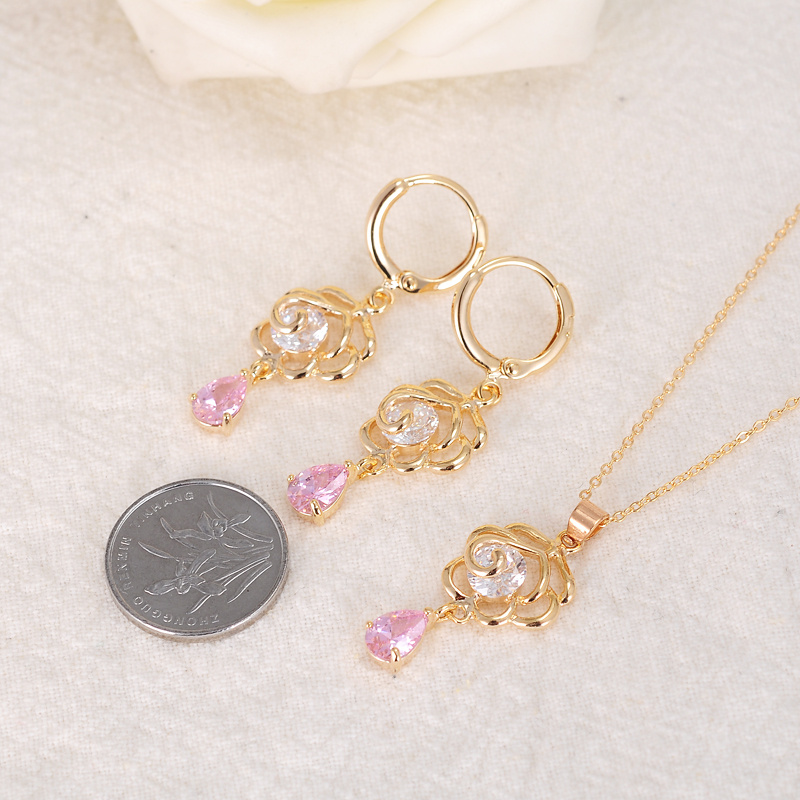 Luxury wedding accessories bridal pink quartz stone pendents ...