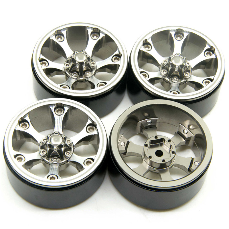 4pcs Titanium Color Alloy Crawler 1 9 Beadlock Wheels Rims Set fits 1 10 RC SCX10