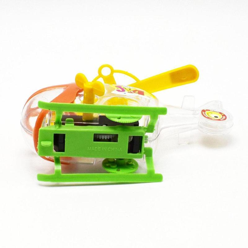 Children Kid Plastic Helicopter Toy Mini Transparent Winding Chain Plane Fun Toy