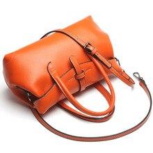 2016 Hot Genuine Leather Boston Bags Woman Handbags Messenger Shoulder bag Fashion Soft  Solid color Black bags famous brand