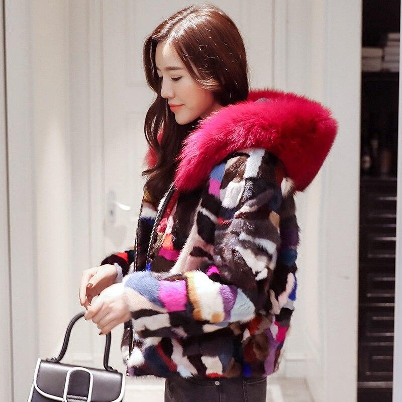 Новинка 2019 года, зимнее пальто из натурального меха норки, Женский Цветной пазл, куртка, короткая, модная, простая, с капюшоном, с большим воротником из лисьего меха