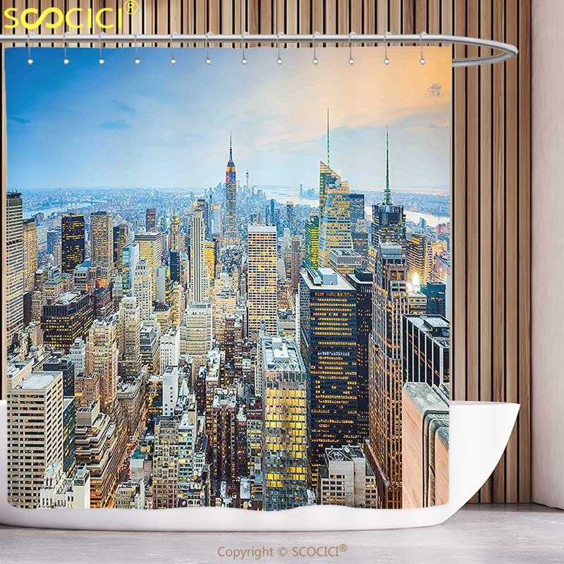 Fun Shower Curtain American New York City Aerial with Skyscrapers Manhattan Urban Architecture Panorama Silver Blue Peach