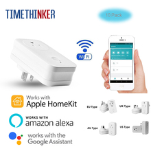 Timethinker WiFi Smart Socket 10pcs Kit US EU AU UK Power Adapter Work for Apple Homekit ALexa Google Home APP Remote Control