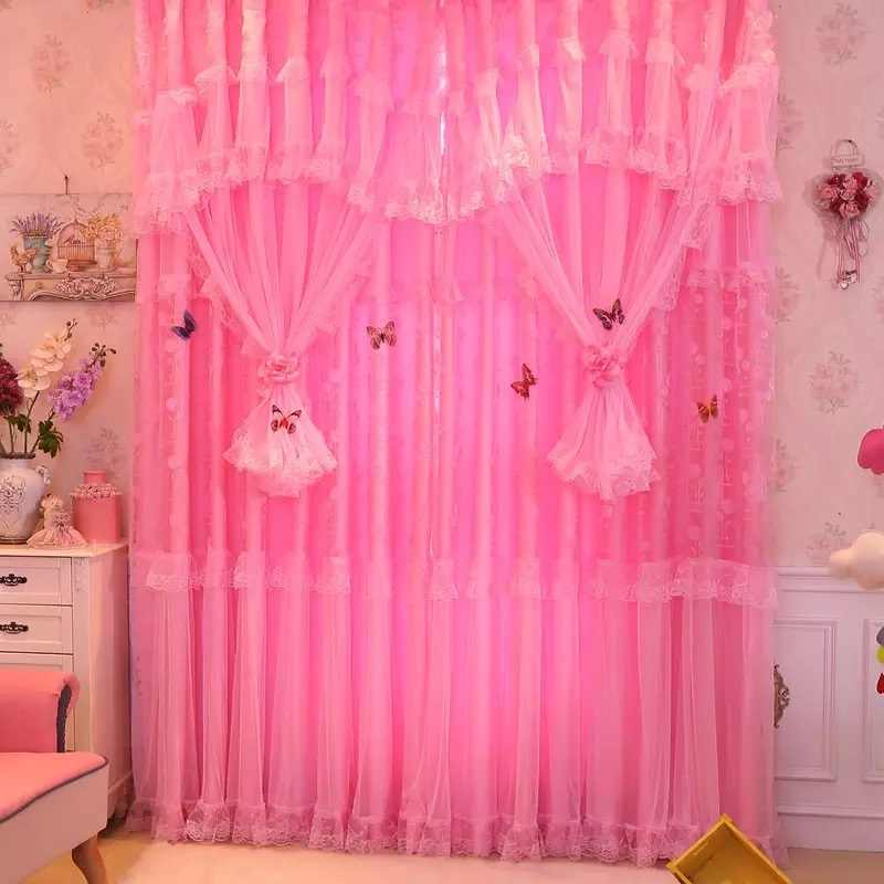 3 Layers Lace Design Curtains for Living Room Bedroom Girls Kids Room Pink Tulle Window Half Blackout Curtain Wedding Decor 1Pcs