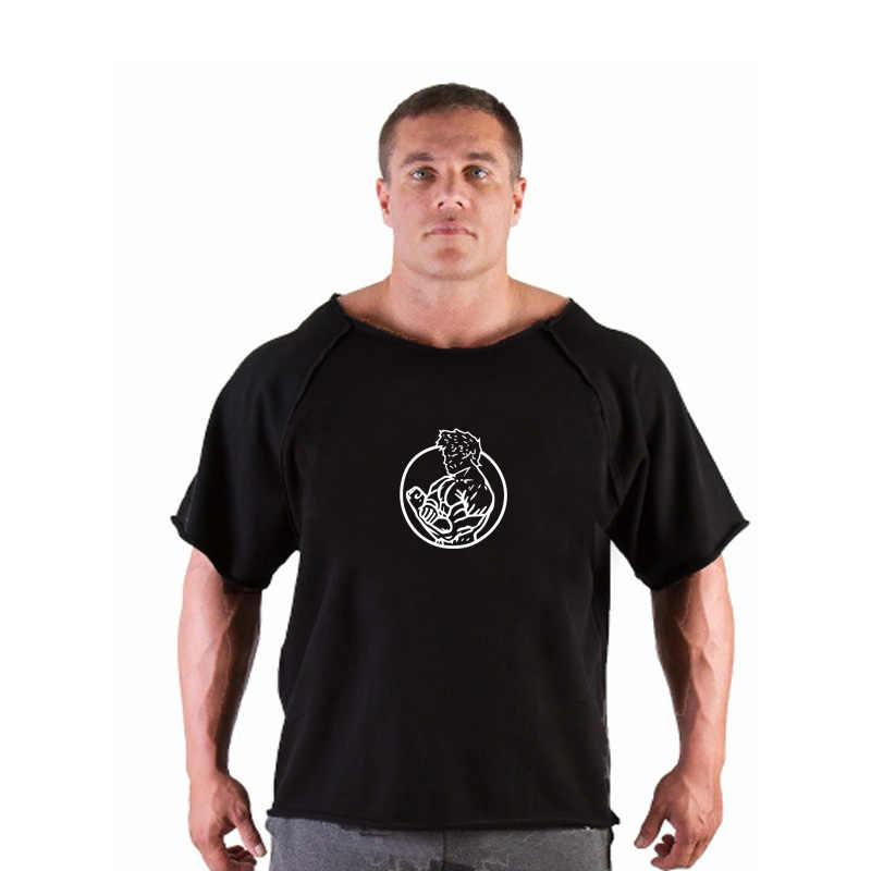 Горилла подъема Тяжелая атлетика Для мужчин футболка Спортзал Бодибилдинг футболка Для мужчин хлопок Рубашка с короткими рукавами бег Футболка мужская брендовая Clo