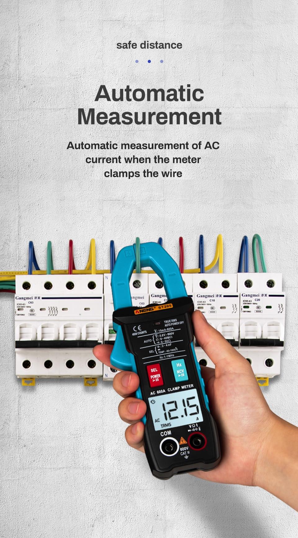 ANENG ST205 цифровой клещи аналоговый мультиметр токовые клещи DC/AC Интеллектуальный автоматический измеритель диапазона с тестером температуры