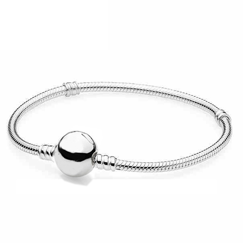 Authenetic 925 Sterling Silver Bracelet Circular Clasp Snake Chain Basic Bracelets Bangle Fit Women Bead Charm Pandora JewelryAuthenetic 925 Sterling Silver Bracelet Circular Clasp Snake Chain Basic Bracelets Bangle Fit Women Bead Charm Pandora Jewelry