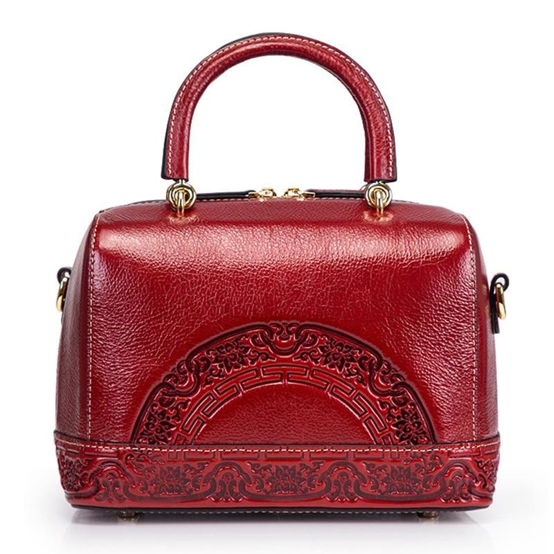 BERAGHINI Genuine Leather Bag Women National Embossed Messenger Crossbody Tote Handbag Chinese Style Shoulder Top Handle Bag