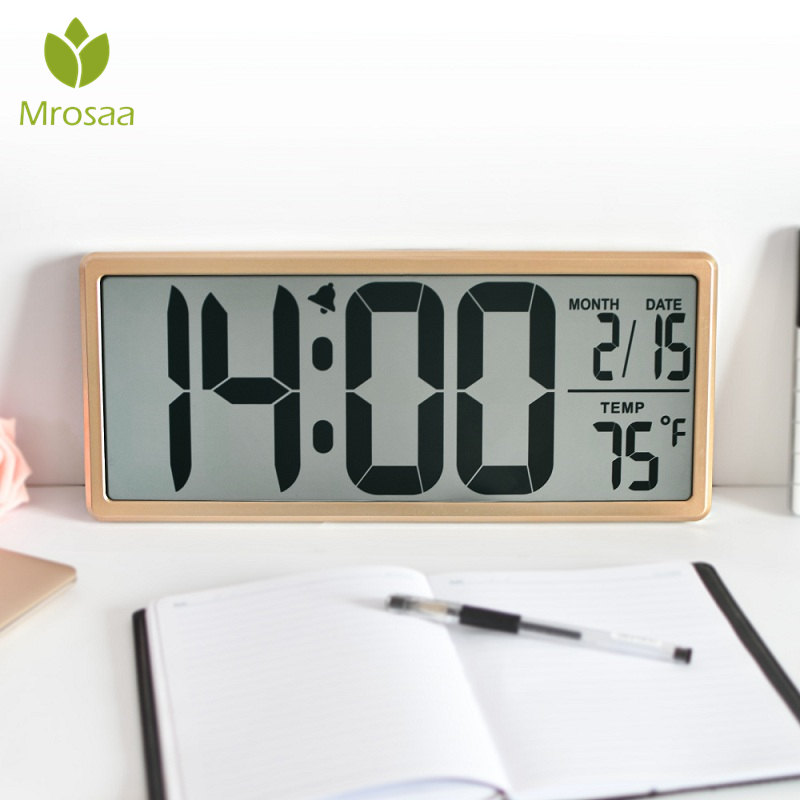 Mrosaa 13.8 Large Digital Alarm Clock Jumbo Digital WallClock Oversized LCD Display Alarm Snooze Calendar Indoor Temperature