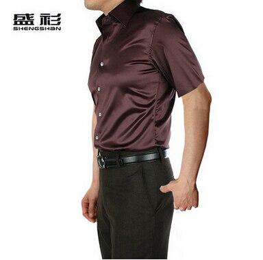 ZOEQO, новинка, брендовая летняя стильная Высококачественная шелковая мужская рубашка с коротким рукавом, повседневная мужская рубашка, camisa masculina camisas hombre - Цвет: 24 brown