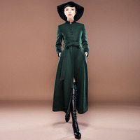 2013 Winter New Arrival Womens Woolen Dress Ladies Slim Stand Collar Solid Color Wool Coat Long