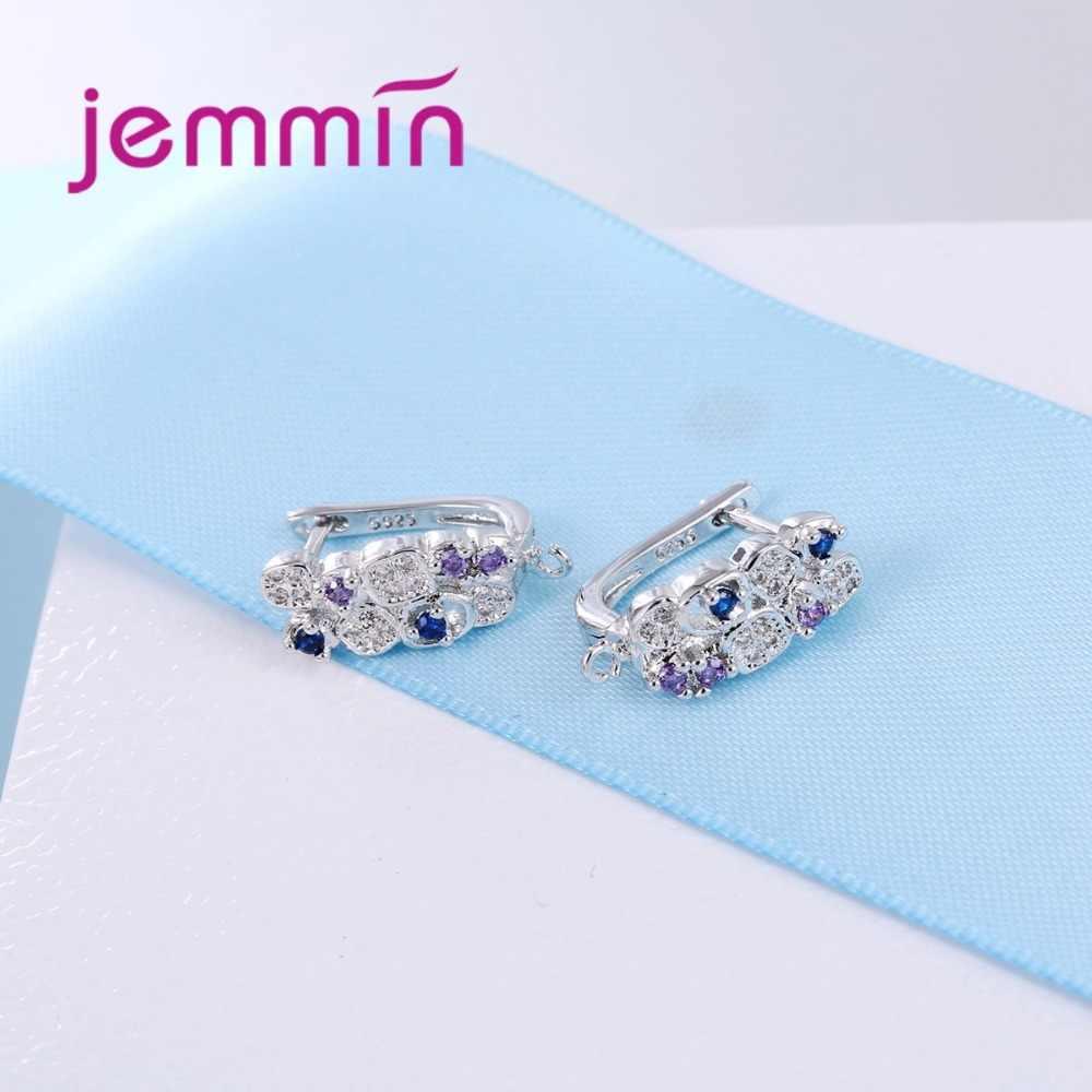 925 Sterling argent boucles d'oreilles coloré Micro cristal broche réglage cerceau Bijoux conception pour les femmes fête Bijoux de mariage