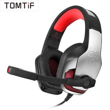 TOMTIF Wired Earphones Bass ps4 Gaming Headset for Mobile Phone Anti-noise Audio Casque Gamer Headphone with MIC and USB