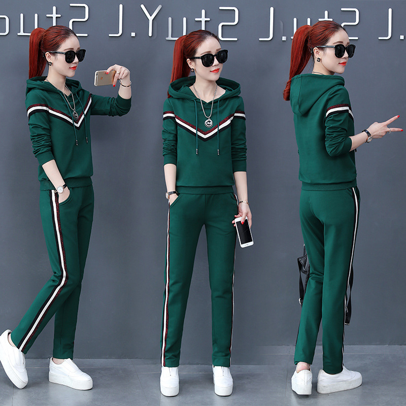 2018 New Tracksuit For Women Sports Suit Female Spring And Autumn Thin Section Hooded Slim Loose Two-piece Women's Suit autumn and winter wear new suit children sweater hooded culottes two piece suit for girls