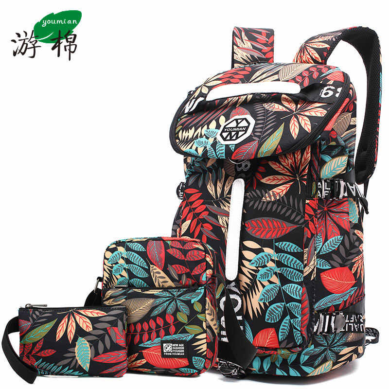 Youmian grande-capacidade de viagem mochila feminina bolsa de ombro esportes fitness lona saco de luz caminhadas viagem bagagem