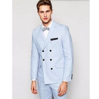 new Leisure suit Custom Made Mens Slim Fit Sky Blue 3 Piece Suits Groom Wedding Prom Party Suits