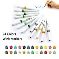 12 24 Colors Glitter Nylon Brush Sparkle Shine Markers Pen Set For Lettering Pen Brush Stamping