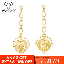 Viennois Gold Color Geometric Dangle Earrings for Woman Pattern Drop Earrings Party Jewelry newest viennois fashion jewelry gun color geometric finger rings for woman rhinestone and crystal party accessories