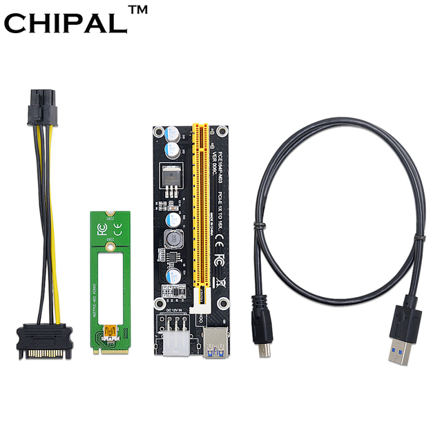 CHIPAL NGFF M.2 M Key to USB 3.0 PCI-E Riser Card M2 to USB3.0 PCIE 16X 1X Extender with Molex Power for Bitcoin Litecoin Miner