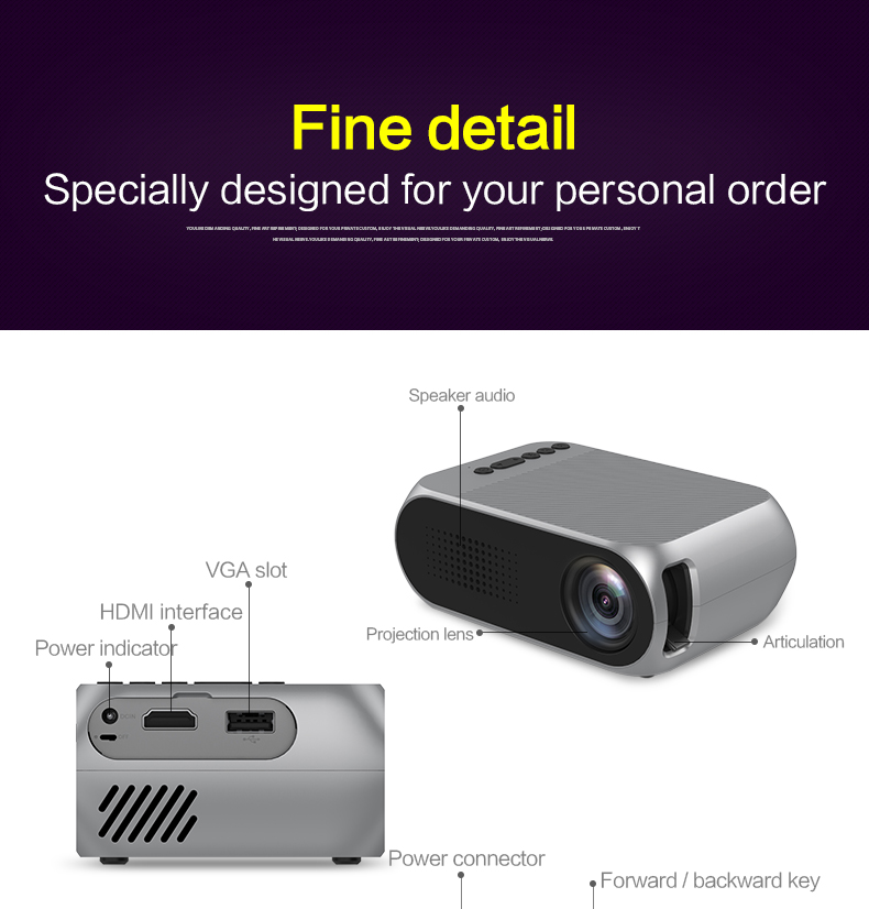 Excelvan YG320 Mini Projector Led Proyector Projetor 500LM Audio HDMI USB Mini YG-320 Projetor Home Theater Media Player Beamer (11)