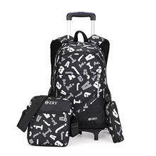 ZIRANYU Kids boys girls Trolley Schoolbag Luggage Book Bags Backpack Latest Removable Children School Bags 2/6 Wheels 3pcs Suit(China)