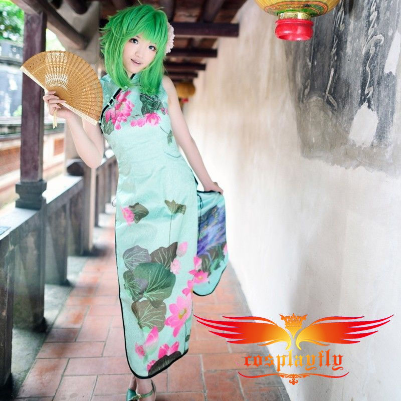 Vocaloid HurlyBurly GUMI Flower Printed Cheongsam For MTV Cosplay Costume Custom Green Female Long Printed Cheongsam
