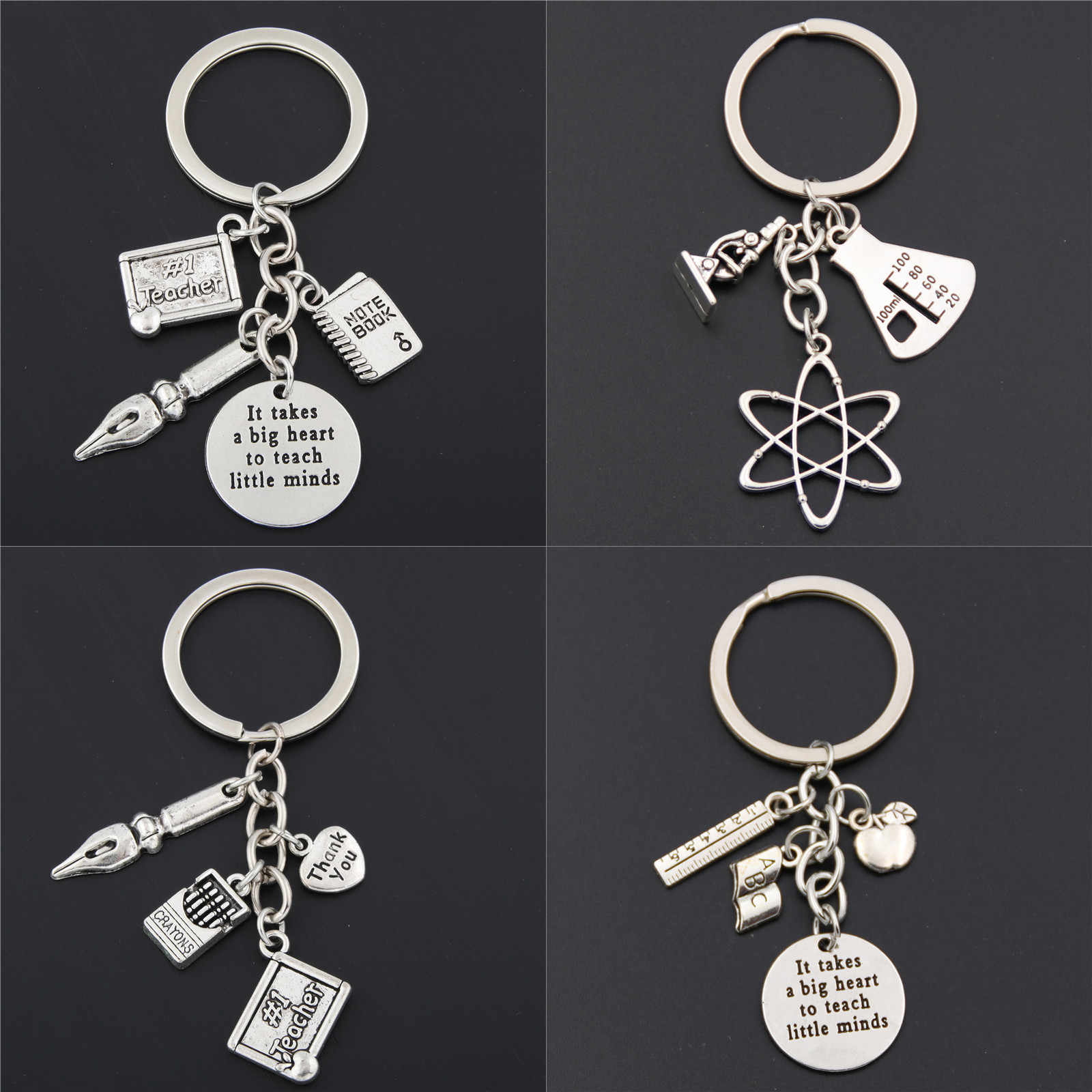 1pc Apple Charms Words Microscope Biological Unique Keychains Biology Chemistry Teacher Gift Keyring