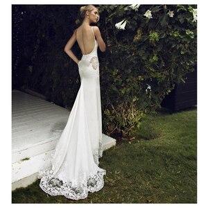 Image 3 - SoDigne 2018 חתונת שמלת אפליקציות תחרה בת ים חתונת שמלה עם רכבת לבן/שנהב ללא משענת חוף שמלות הכלה G1019